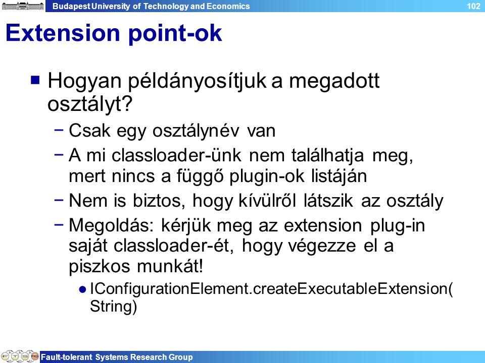 Budapest University of Technology and Economics Fault-tolerant Systems Research Group 102 Extension point-ok  Hogyan példányosítjuk a megadott osztályt.