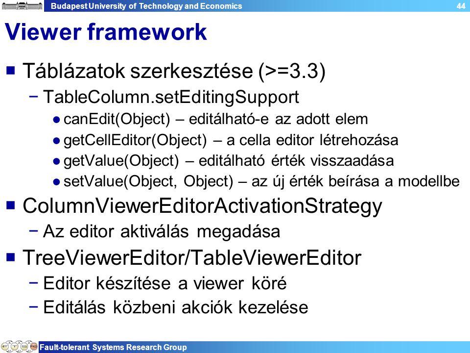 Budapest University of Technology and Economics Fault-tolerant Systems Research Group 44 Viewer framework  Táblázatok szerkesztése (>=3.3) −TableColumn.setEditingSupport ●canEdit(Object) – editálható-e az adott elem ●getCellEditor(Object) – a cella editor létrehozása ●getValue(Object) – editálható érték visszaadása ●setValue(Object, Object) – az új érték beírása a modellbe  ColumnViewerEditorActivationStrategy −Az editor aktiválás megadása  TreeViewerEditor/TableViewerEditor −Editor készítése a viewer köré −Editálás közbeni akciók kezelése