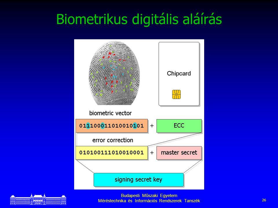 Budapesti Műszaki Egyetem Méréstechnika és Információs Rendszerek Tanszék 26 Biometrikus digitális aláírás