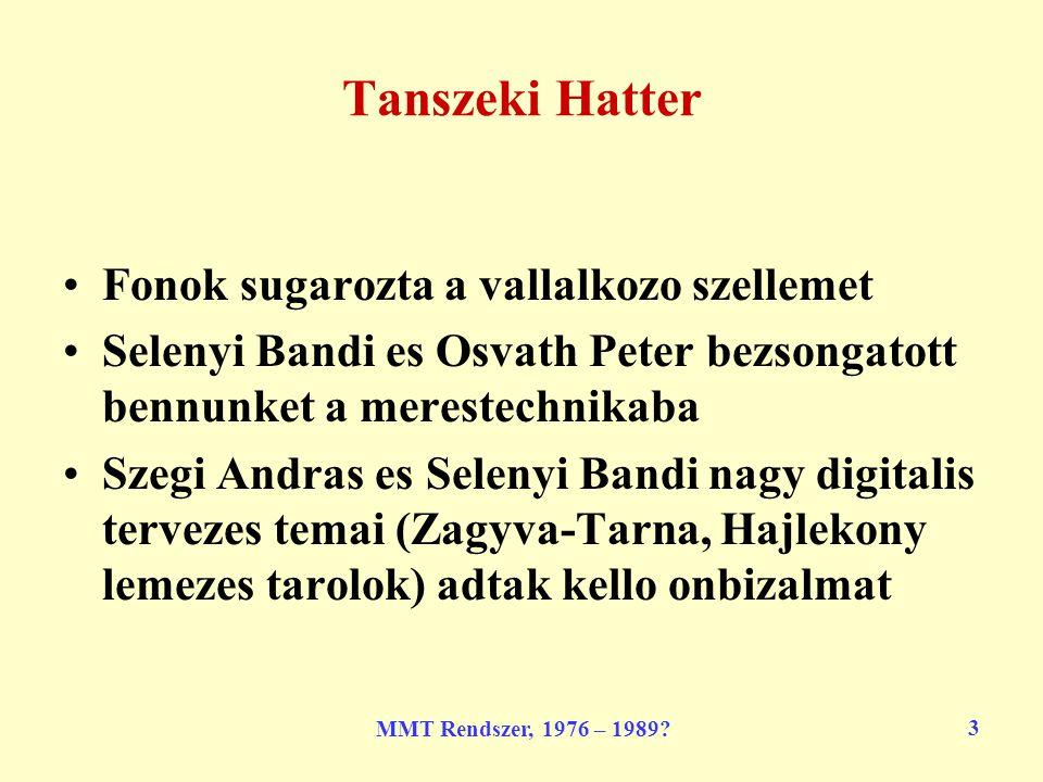 MMT Rendszer, 1976 – 1989.