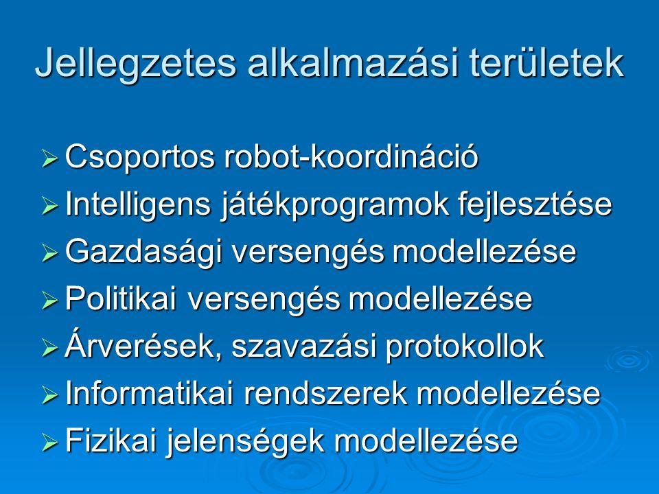 Jellegzetes alkalmazási területek  Csoportos robot-koordináció  Intelligens játékprogramok fejlesztése  Gazdasági versengés modellezése  Politikai