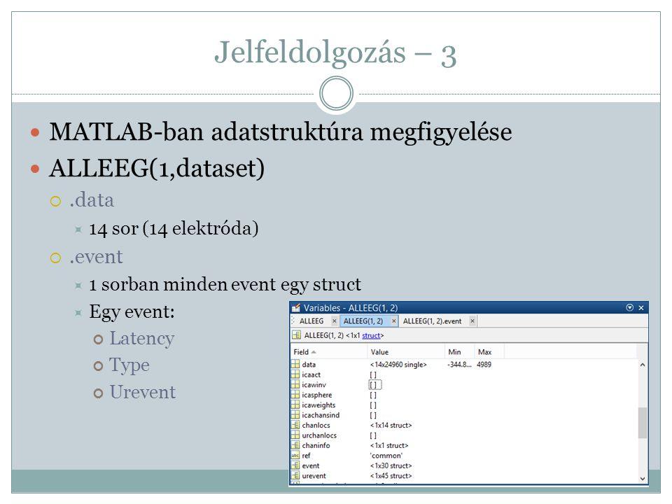 Jelfeldolgozás – 3 MATLAB-ban adatstruktúra megfigyelése ALLEEG(1,dataset) .data  14 sor (14 elektróda) .event  1 sorban minden event egy struct 