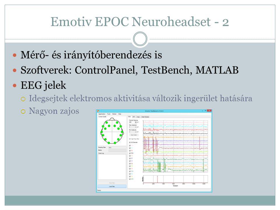 Emotiv EPOC Neuroheadset - 2 Mérő- és irányítóberendezés is Szoftverek: ControlPanel, TestBench, MATLAB EEG jelek  Idegsejtek elektromos aktivitása v