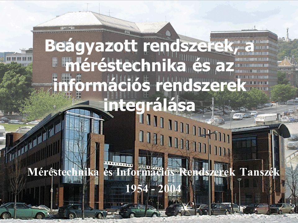 Méréstechnika és Információs Rendszerek Tanszék, 1954 - 2004 2 Beágyazott (információs) rendszerek: a befogadó fizikai/kémiai/biológiai környezetükkel intenzív, valós idejű információs kapcsolatban álló, autonóm működésű, szolgáltatás-biztos, számítógépes rendszerek, melyek lokálisan (általában) korlátozott, globálisan (általában) bőséges erőforrásokkal (idő, adat, tápellátás, memória,...) rendelkeznek.