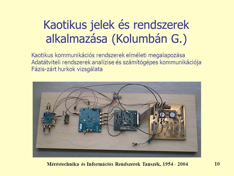 Méréstechnika és Információs Rendszerek Tanszék, 1954 - 2004 10 Kaotikus jelek és rendszerek alkalmazása (Kolumbán G.) Kaotikus kommunikációs rendszer