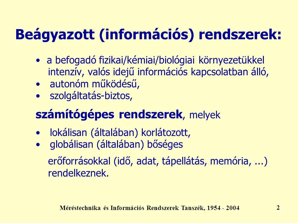Méréstechnika és Információs Rendszerek Tanszék, 1954 - 2004 3 Kiemelt feladatuk: a befogadó környezet identifikációja folyamatos adatgyűjtés, valós idejű modellépítés a befogadó környezet befolyásolása valós idejű kiértékelés, döntés, beavatkozás a beágyazott rendszer identifikációja folyamatos adatgyűjtés az erőforrásokról a beágyazott rendszer befolyásolása az erőforrások valós idejű értékelése, döntés, beavatkozás