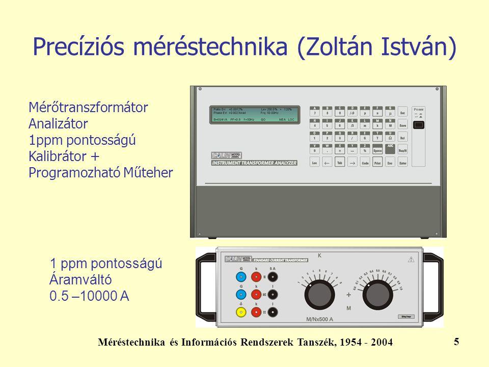 Méréstechnika és Információs Rendszerek Tanszék, 1954 - 2004 5 Precíziós méréstechnika (Zoltán István) Mérőtranszformátor Analizátor 1ppm pontosságú K