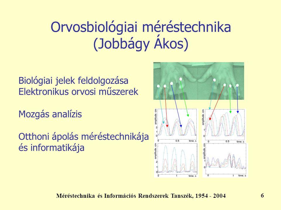 Méréstechnika és Információs Rendszerek Tanszék, 1954 - 2004 6 Orvosbiológiai méréstechnika (Jobbágy Ákos) Biológiai jelek feldolgozása Elektronikus o