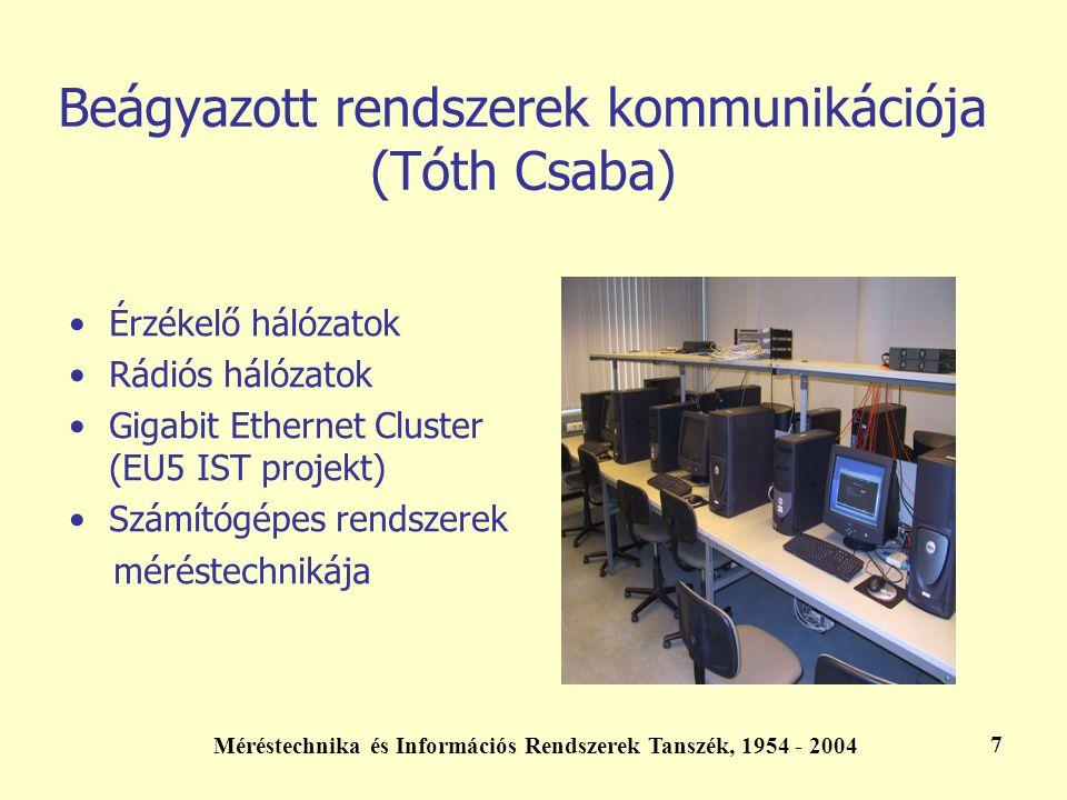 Méréstechnika és Információs Rendszerek Tanszék, 1954 - 2004 7 Beágyazott rendszerek kommunikációja (Tóth Csaba) Érzékelő hálózatok Rádiós hálózatok G