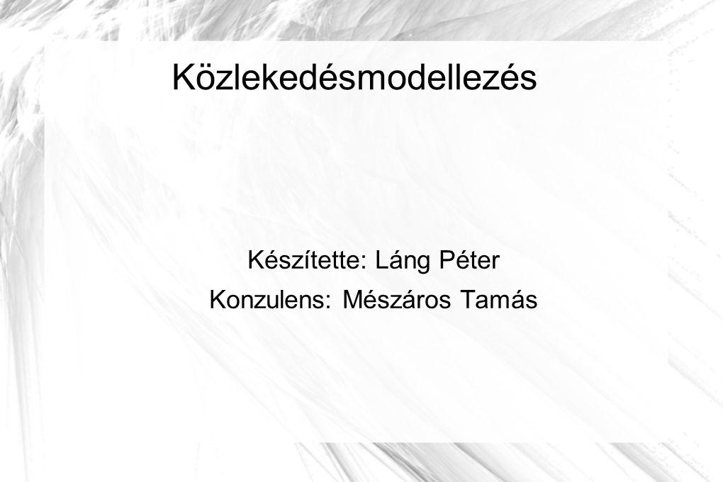 Közlekedésmodellezés Készítette: Láng Péter Konzulens: Mészáros Tamás