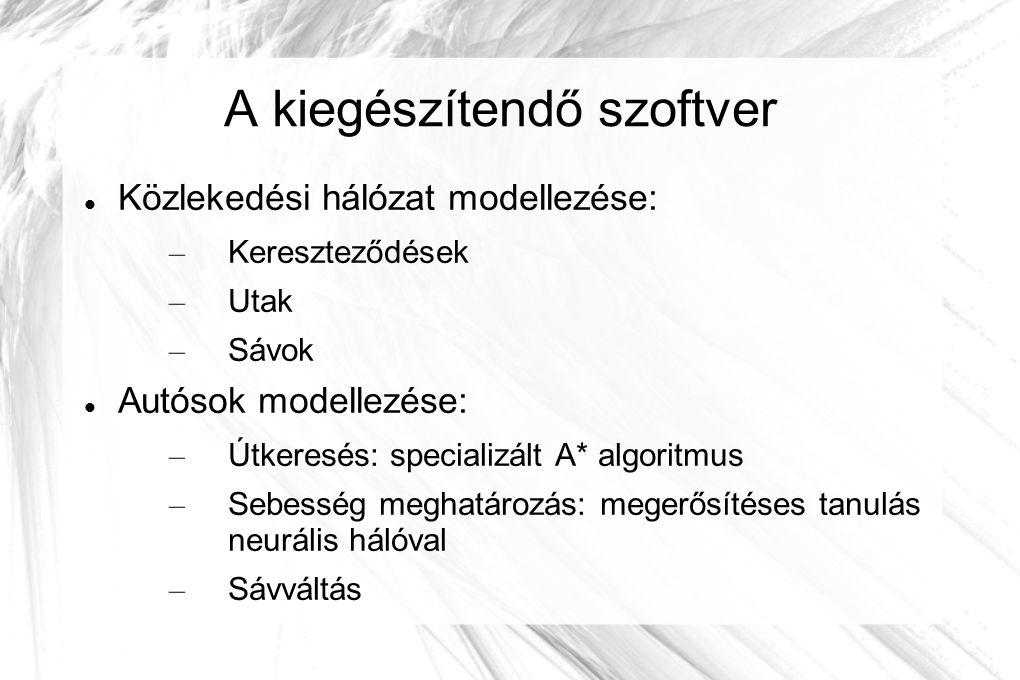 A kiegészítendő szoftver Közlekedési hálózat modellezése: – Kereszteződések – Utak – Sávok Autósok modellezése: – Útkeresés: specializált A* algoritmus – Sebesség meghatározás: megerősítéses tanulás neurális hálóval – Sávváltás