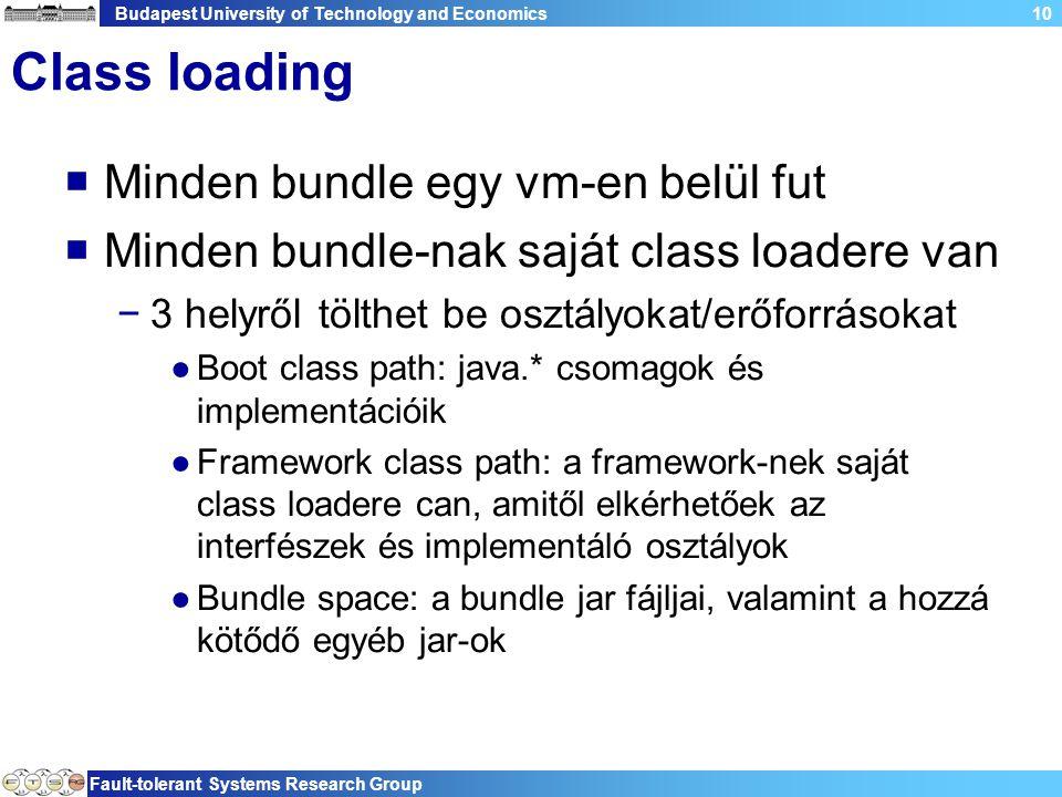 Budapest University of Technology and Economics Fault-tolerant Systems Research Group 10 Class loading  Minden bundle egy vm-en belül fut  Minden bundle-nak saját class loadere van −3 helyről tölthet be osztályokat/erőforrásokat ●Boot class path: java.* csomagok és implementációik ●Framework class path: a framework-nek saját class loadere can, amitől elkérhetőek az interfészek és implementáló osztályok ●Bundle space: a bundle jar fájljai, valamint a hozzá kötődő egyéb jar-ok