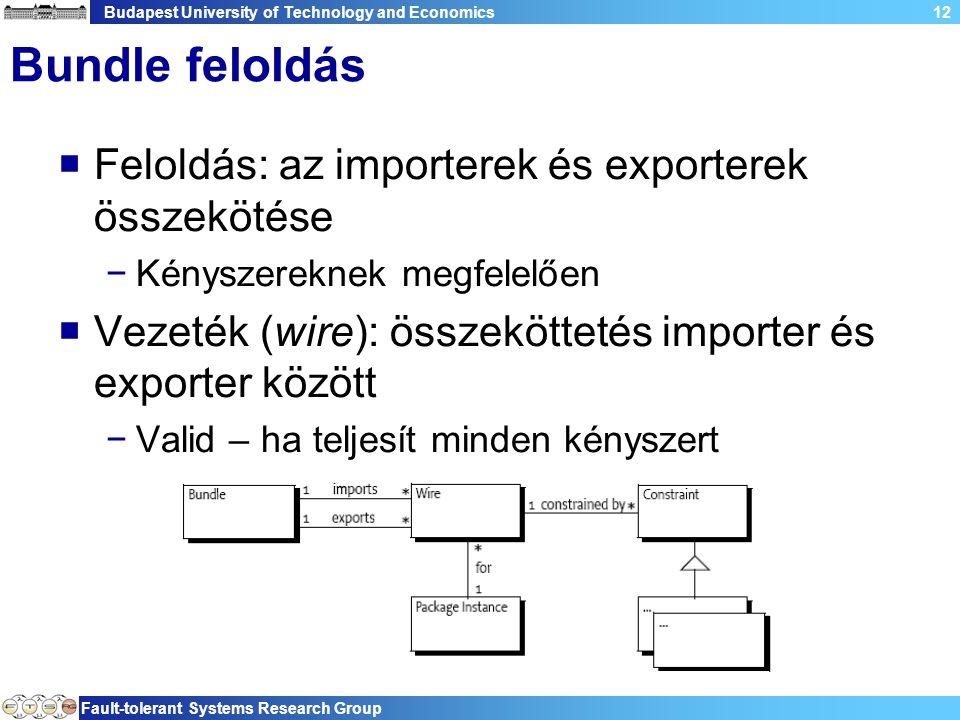 Budapest University of Technology and Economics Fault-tolerant Systems Research Group 12 Bundle feloldás  Feloldás: az importerek és exporterek összekötése −Kényszereknek megfelelően  Vezeték (wire): összeköttetés importer és exporter között −Valid – ha teljesít minden kényszert
