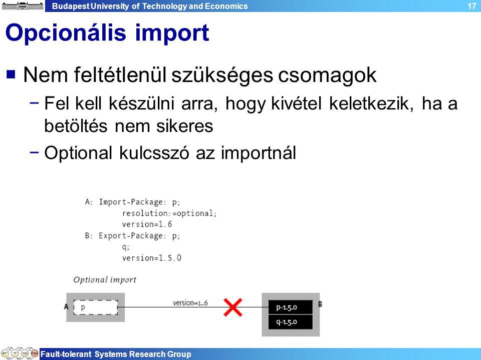 Budapest University of Technology and Economics Fault-tolerant Systems Research Group 17 Opcionális import  Nem feltétlenül szükséges csomagok −Fel kell készülni arra, hogy kivétel keletkezik, ha a betöltés nem sikeres −Optional kulcsszó az importnál