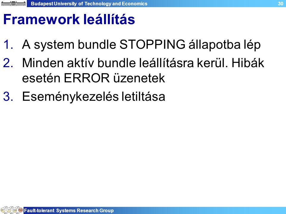 Budapest University of Technology and Economics Fault-tolerant Systems Research Group 30 Framework leállítás 1.A system bundle STOPPING állapotba lép 2.Minden aktív bundle leállításra kerül.