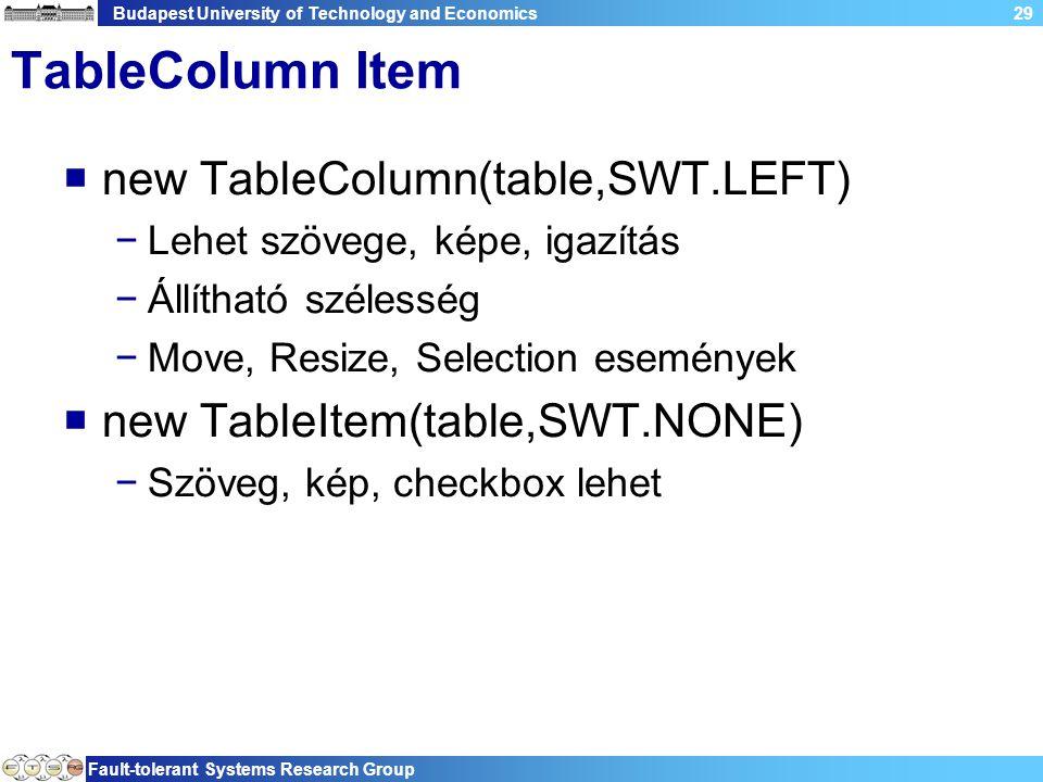 Budapest University of Technology and Economics Fault-tolerant Systems Research Group 29 TableColumn Item  new TableColumn(table,SWT.LEFT) −Lehet szövege, képe, igazítás −Állítható szélesség −Move, Resize, Selection események  new TableItem(table,SWT.NONE) −Szöveg, kép, checkbox lehet