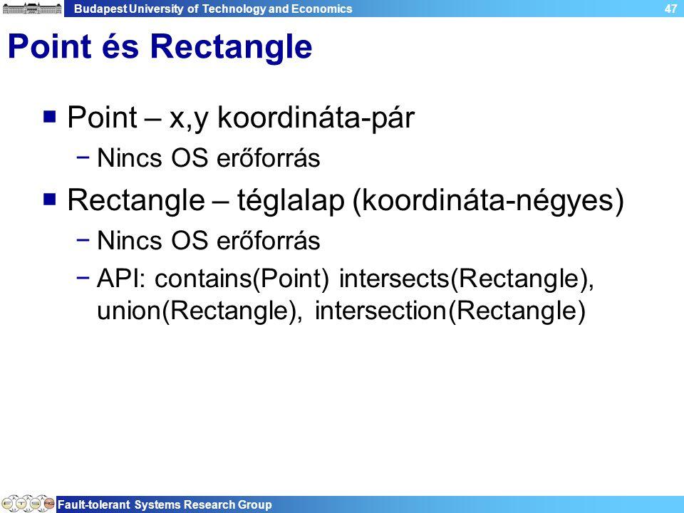 Budapest University of Technology and Economics Fault-tolerant Systems Research Group 47 Point és Rectangle  Point – x,y koordináta-pár −Nincs OS erőforrás  Rectangle – téglalap (koordináta-négyes) −Nincs OS erőforrás −API: contains(Point) intersects(Rectangle), union(Rectangle), intersection(Rectangle)