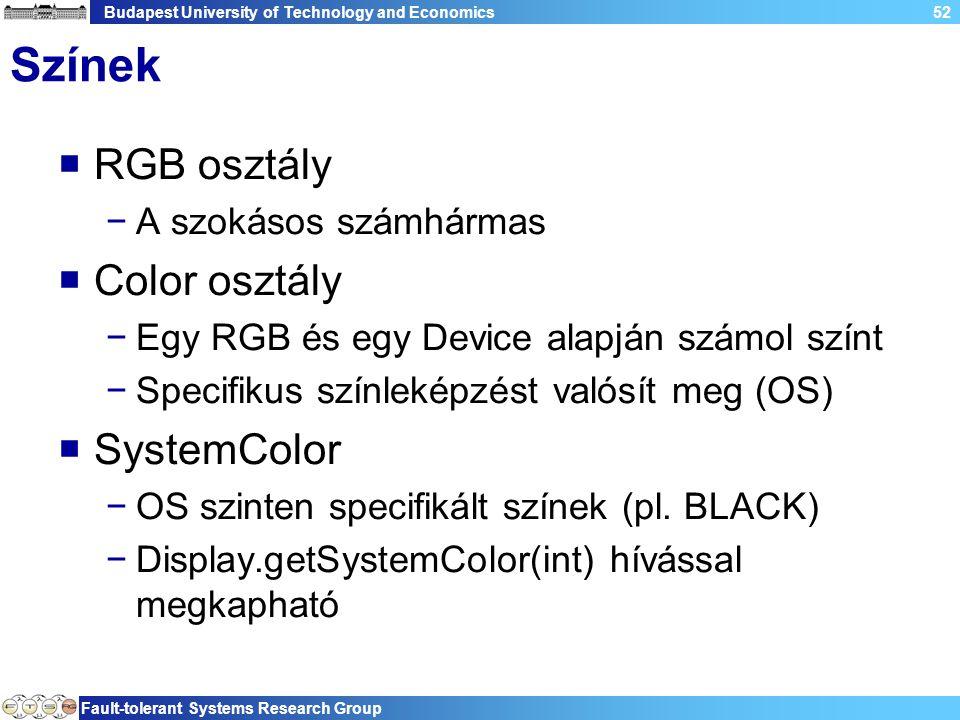 Budapest University of Technology and Economics Fault-tolerant Systems Research Group 52 Színek  RGB osztály −A szokásos számhármas  Color osztály −Egy RGB és egy Device alapján számol színt −Specifikus színleképzést valósít meg (OS)  SystemColor −OS szinten specifikált színek (pl.