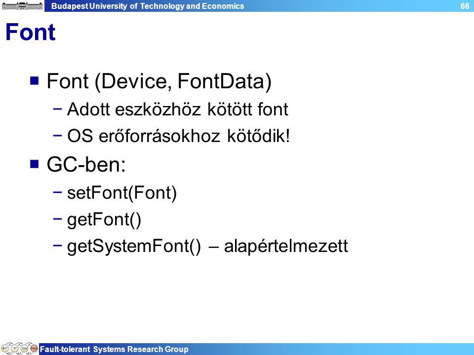 Budapest University of Technology and Economics Fault-tolerant Systems Research Group 66 Font  Font (Device, FontData) −Adott eszközhöz kötött font −OS erőforrásokhoz kötődik.