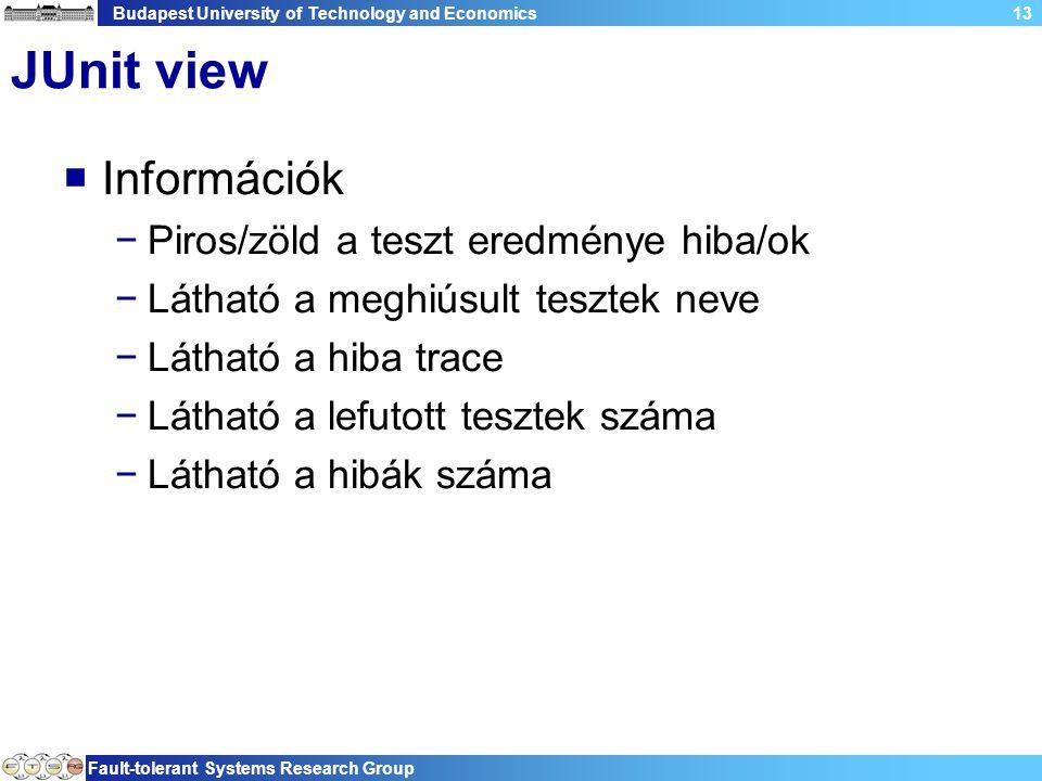 Budapest University of Technology and Economics Fault-tolerant Systems Research Group 13 JUnit view  Információk −Piros/zöld a teszt eredménye hiba/ok −Látható a meghiúsult tesztek neve −Látható a hiba trace −Látható a lefutott tesztek száma −Látható a hibák száma