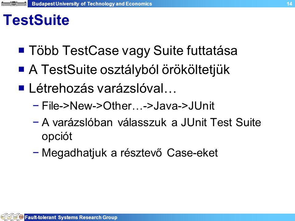 Budapest University of Technology and Economics Fault-tolerant Systems Research Group 14 TestSuite  Több TestCase vagy Suite futtatása  A TestSuite osztályból örököltetjük  Létrehozás varázslóval… −File->New->Other…->Java->JUnit −A varázslóban válasszuk a JUnit Test Suite opciót −Megadhatjuk a résztevő Case-eket