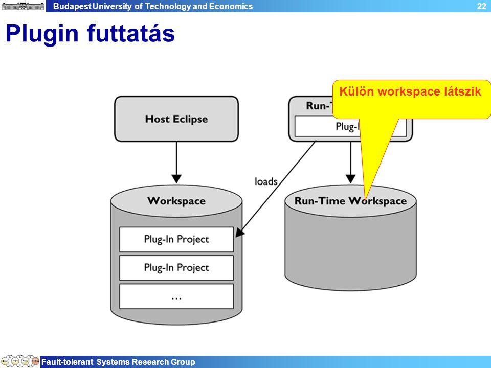 Budapest University of Technology and Economics Fault-tolerant Systems Research Group 22 Plugin futtatás Külön workspace látszik