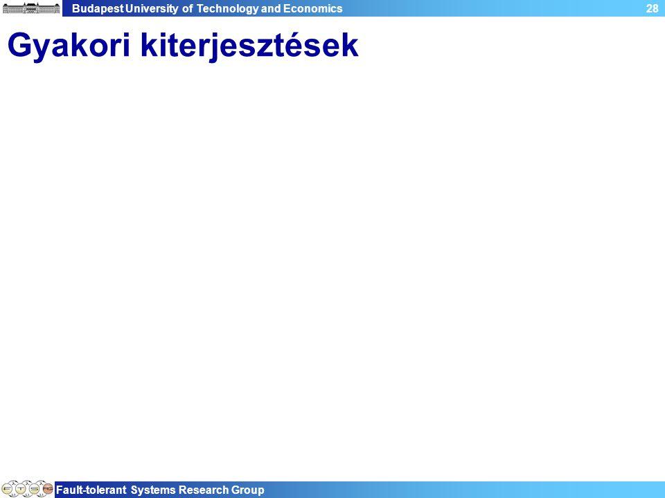 Budapest University of Technology and Economics Fault-tolerant Systems Research Group 28 Gyakori kiterjesztések