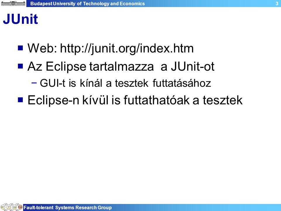 Budapest University of Technology and Economics Fault-tolerant Systems Research Group 3 JUnit  Web: http://junit.org/index.htm  Az Eclipse tartalmazza a JUnit-ot −GUI-t is kínál a tesztek futtatásához  Eclipse-n kívül is futtathatóak a tesztek