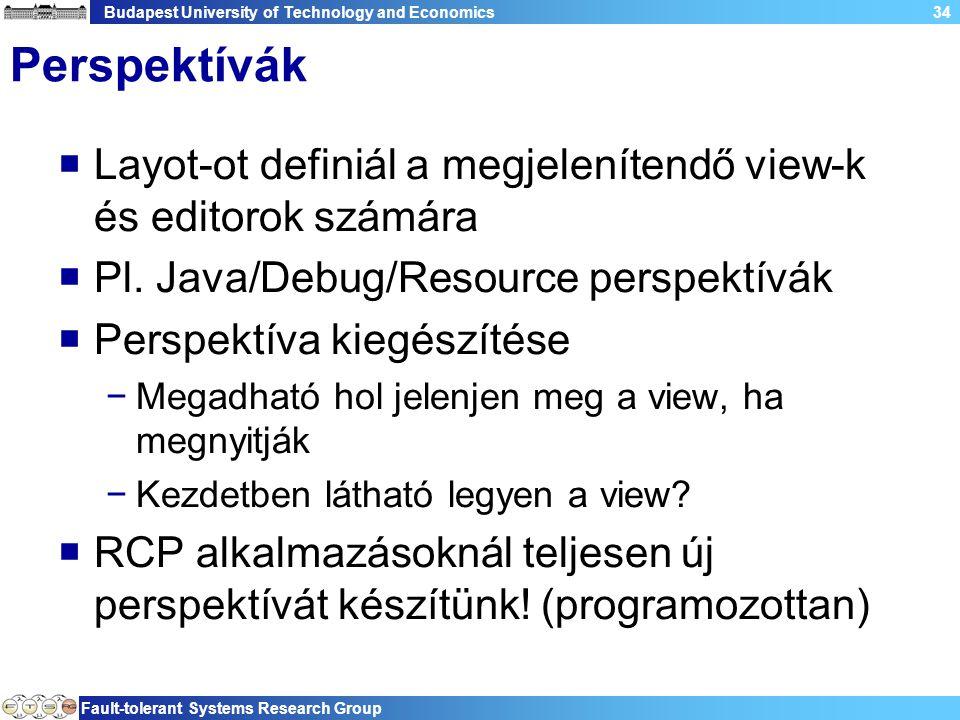 Budapest University of Technology and Economics Fault-tolerant Systems Research Group 34 Perspektívák  Layot-ot definiál a megjelenítendő view-k és editorok számára  Pl.