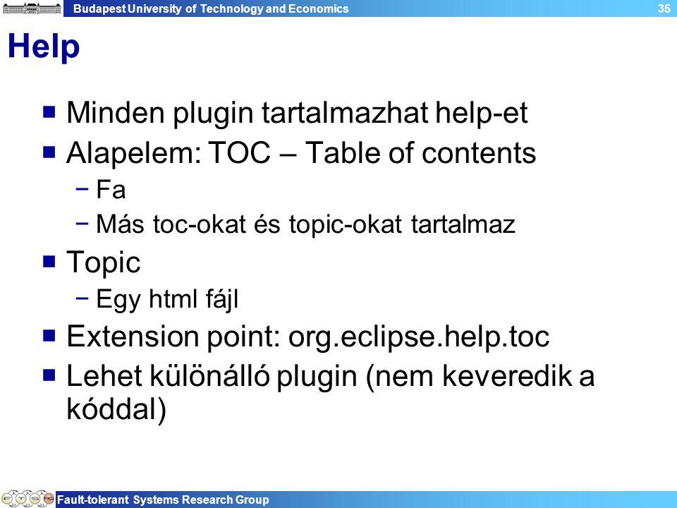 Budapest University of Technology and Economics Fault-tolerant Systems Research Group 35 Help  Minden plugin tartalmazhat help-et  Alapelem: TOC – T
