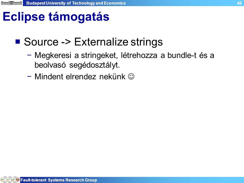 Budapest University of Technology and Economics Fault-tolerant Systems Research Group 45 Eclipse támogatás  Source -> Externalize strings −Megkeresi a stringeket, létrehozza a bundle-t és a beolvasó segédosztályt.