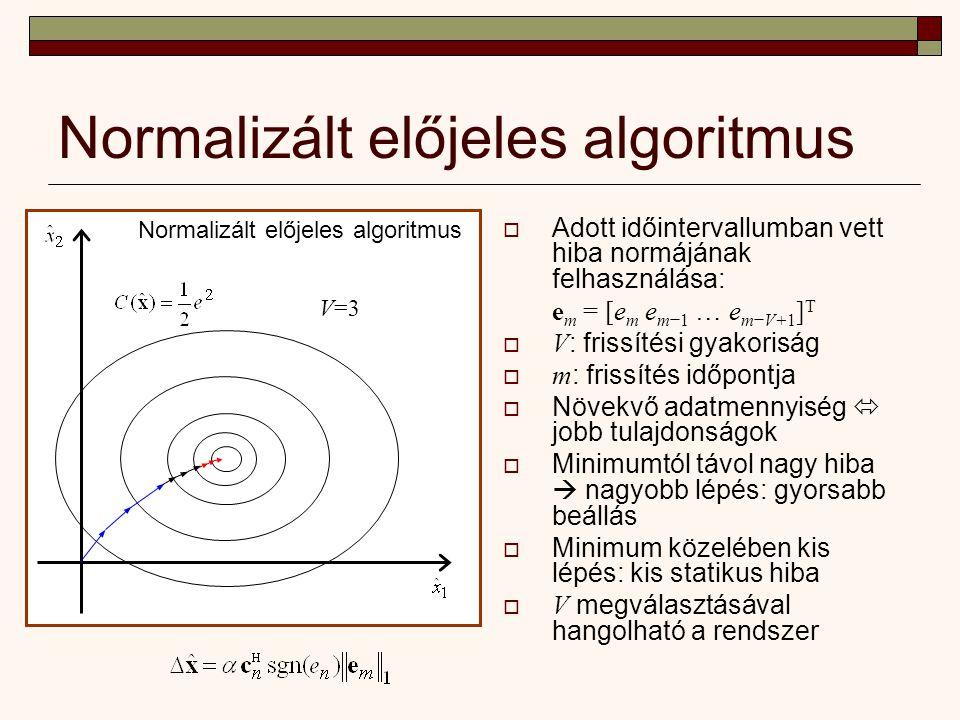 Normalizált előjeles algoritmus  Adott időintervallumban vett hiba normájának felhasználása: e m = [e m e m−1 … e m−V+1 ] T  V : frissítési gyakoriság  m : frissítés időpontja  Növekvő adatmennyiség  jobb tulajdonságok  Minimumtól távol nagy hiba  nagyobb lépés: gyorsabb beállás  Minimum közelében kis lépés: kis statikus hiba  V megválasztásával hangolható a rendszer Normalizált előjeles algoritmus V=3