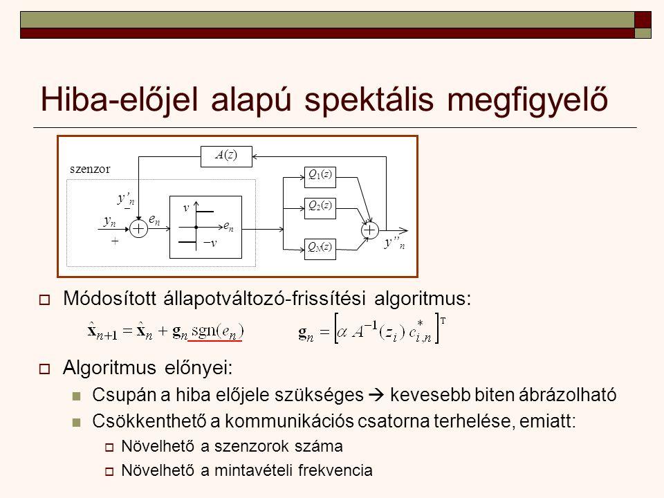 Hiba-előjel alapú spektális megfigyelő ν −ν−ν enen – ynyn + enen y n Q1(z)Q1(z) Q2(z)Q2(z) QN(z)QN(z) A(z)A(z) y' n szenzor  Algoritmus előnyei: Csupán a hiba előjele szükséges  kevesebb biten ábrázolható Csökkenthető a kommunikációs csatorna terhelése, emiatt:  Növelhető a szenzorok száma  Növelhető a mintavételi frekvencia  Módosított állapotváltozó-frissítési algoritmus: