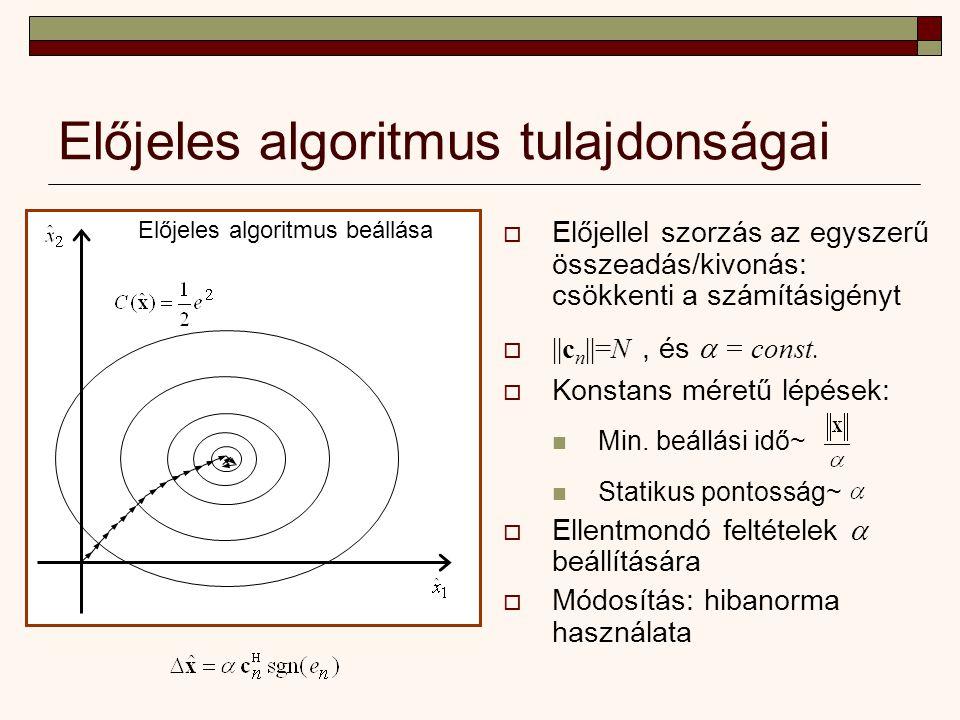 Előjeles algoritmus tulajdonságai Előjeles algoritmus beállása  Előjellel szorzás az egyszerű összeadás/kivonás: csökkenti a számításigényt  ||c n ||=N, és  = const.