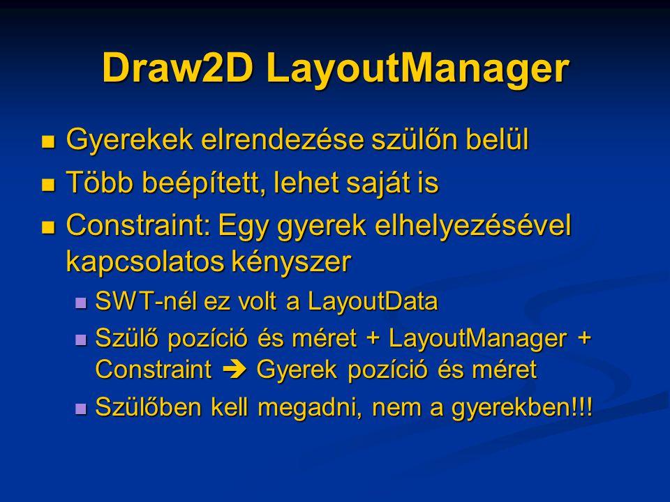 Draw2D LayoutManager Gyerekek elrendezése szülőn belül Gyerekek elrendezése szülőn belül Több beépített, lehet saját is Több beépített, lehet saját is Constraint: Egy gyerek elhelyezésével kapcsolatos kényszer Constraint: Egy gyerek elhelyezésével kapcsolatos kényszer SWT-nél ez volt a LayoutData SWT-nél ez volt a LayoutData Szülő pozíció és méret + LayoutManager + Constraint  Gyerek pozíció és méret Szülő pozíció és méret + LayoutManager + Constraint  Gyerek pozíció és méret Szülőben kell megadni, nem a gyerekben!!.
