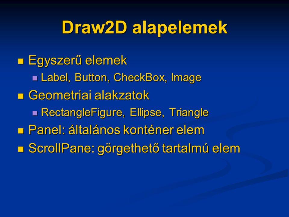Draw2D alapelemek Egyszerű elemek Egyszerű elemek Label, Button, CheckBox, Image Label, Button, CheckBox, Image Geometriai alakzatok Geometriai alakzatok RectangleFigure, Ellipse, Triangle RectangleFigure, Ellipse, Triangle Panel: általános konténer elem Panel: általános konténer elem ScrollPane: görgethető tartalmú elem ScrollPane: görgethető tartalmú elem