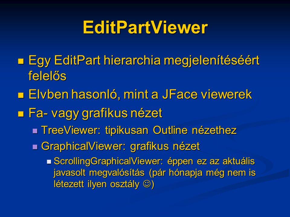 EditPartViewer Egy EditPart hierarchia megjelenítéséért felelős Egy EditPart hierarchia megjelenítéséért felelős Elvben hasonló, mint a JFace viewerek Elvben hasonló, mint a JFace viewerek Fa- vagy grafikus nézet Fa- vagy grafikus nézet TreeViewer: tipikusan Outline nézethez TreeViewer: tipikusan Outline nézethez GraphicalViewer: grafikus nézet GraphicalViewer: grafikus nézet ScrollingGraphicalViewer: éppen ez az aktuális javasolt megvalósítás (pár hónapja még nem is létezett ilyen osztály ) ScrollingGraphicalViewer: éppen ez az aktuális javasolt megvalósítás (pár hónapja még nem is létezett ilyen osztály )