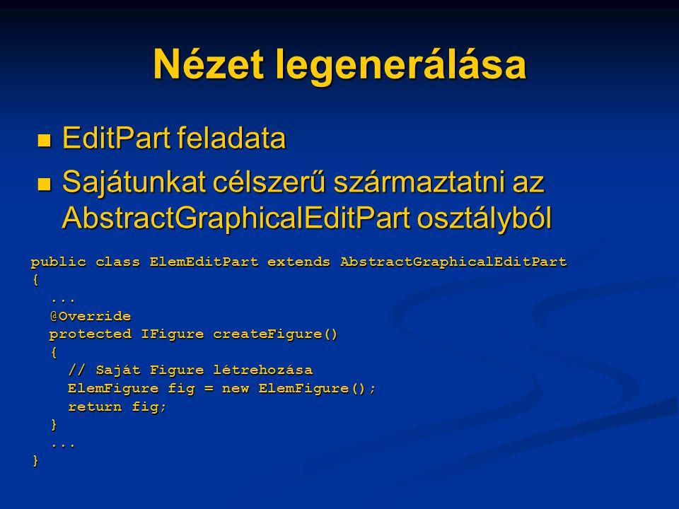 Nézet legenerálása EditPart feladata EditPart feladata Sajátunkat célszerű származtatni az AbstractGraphicalEditPart osztályból Sajátunkat célszerű származtatni az AbstractGraphicalEditPart osztályból public class ElemEditPart extends AbstractGraphicalEditPart {...