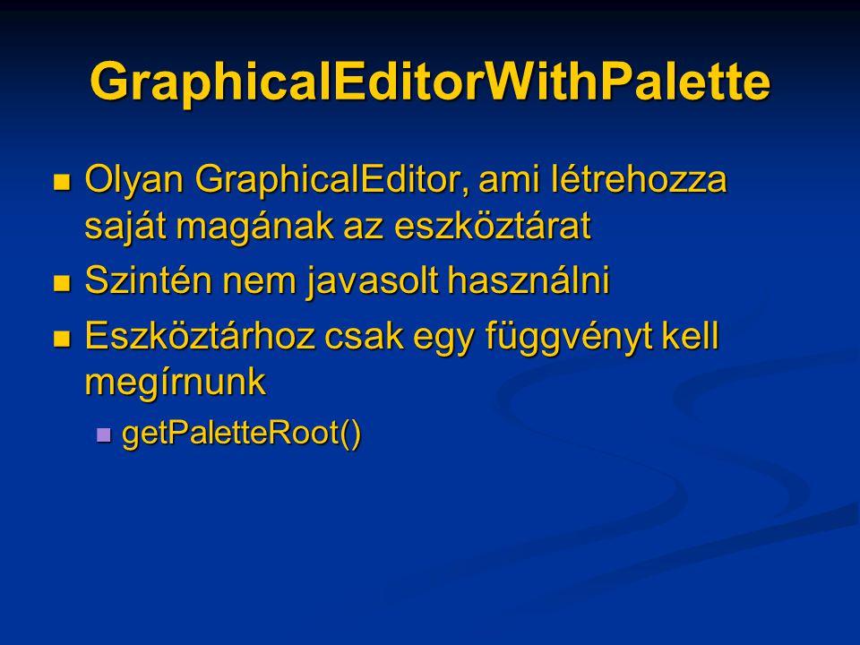 GraphicalEditorWithPalette Olyan GraphicalEditor, ami létrehozza saját magának az eszköztárat Olyan GraphicalEditor, ami létrehozza saját magának az eszköztárat Szintén nem javasolt használni Szintén nem javasolt használni Eszköztárhoz csak egy függvényt kell megírnunk Eszköztárhoz csak egy függvényt kell megírnunk getPaletteRoot() getPaletteRoot()