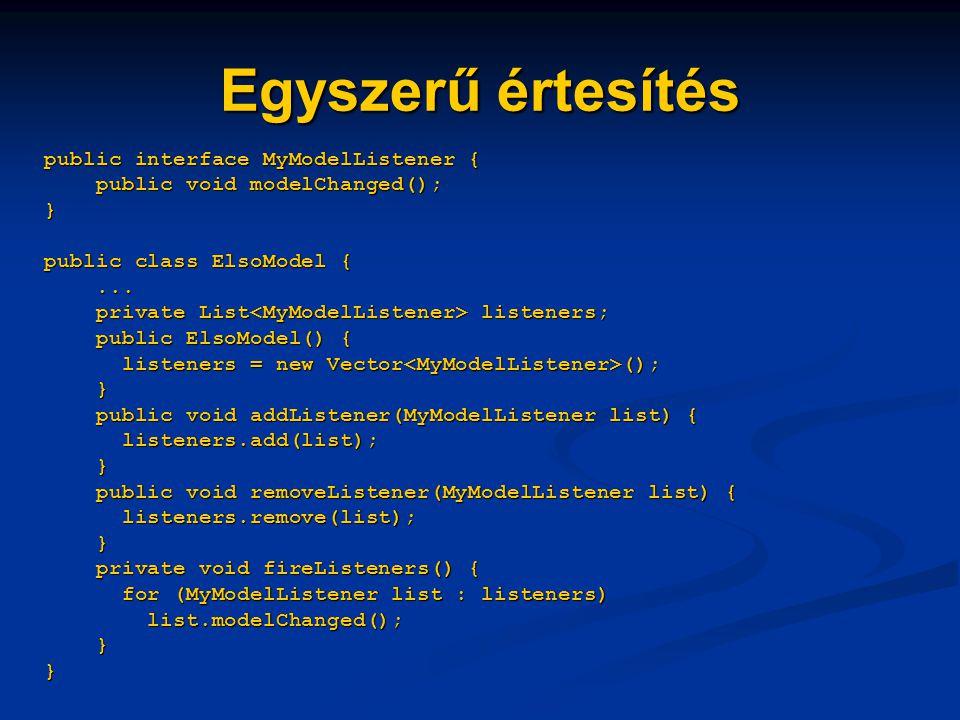 Egyszerű értesítés public interface MyModelListener { public void modelChanged(); } public class ElsoModel {...