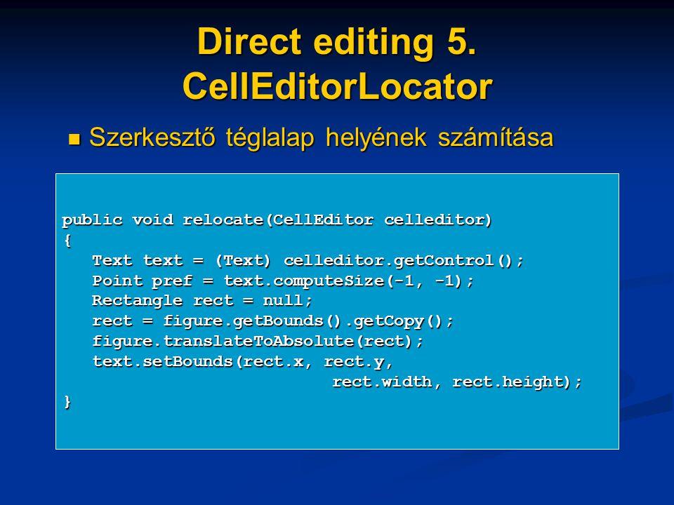 Direct editing 5. CellEditorLocator public void relocate(CellEditor celleditor) { Text text = (Text) celleditor.getControl(); Text text = (Text) celle