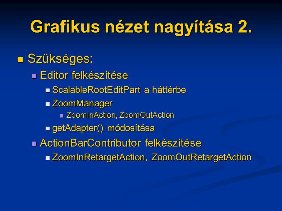 Grafikus nézet nagyítása 2. Szükséges: Szükséges: Editor felkészítése Editor felkészítése ScalableRootEditPart a háttérbe ScalableRootEditPart a hátté