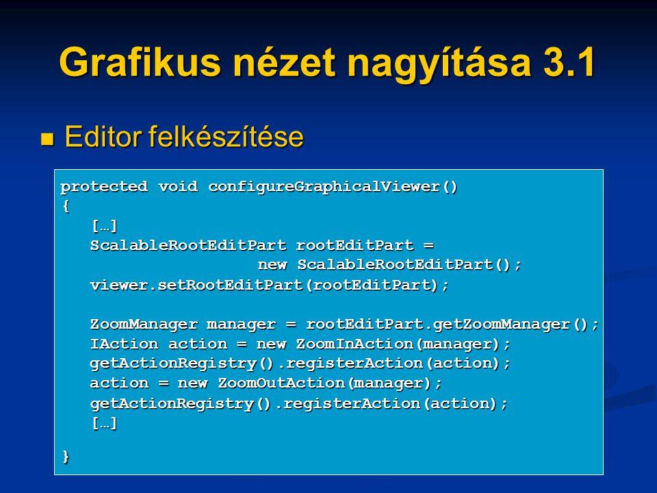 Grafikus nézet nagyítása 3.1 Editor felkészítése Editor felkészítése protected void configureGraphicalViewer() { […] […] ScalableRootEditPart rootEditPart = ScalableRootEditPart rootEditPart = new ScalableRootEditPart(); viewer.setRootEditPart(rootEditPart); viewer.setRootEditPart(rootEditPart); ZoomManager manager = rootEditPart.getZoomManager(); ZoomManager manager = rootEditPart.getZoomManager(); IAction action = new ZoomInAction(manager); IAction action = new ZoomInAction(manager); getActionRegistry().registerAction(action); getActionRegistry().registerAction(action); action = new ZoomOutAction(manager); action = new ZoomOutAction(manager); getActionRegistry().registerAction(action); getActionRegistry().registerAction(action); […] […]}