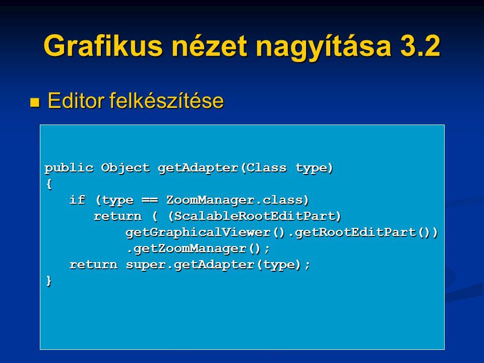 Grafikus nézet nagyítása 3.2 Editor felkészítése Editor felkészítése public Object getAdapter(Class type) { if (type == ZoomManager.class) if (type == ZoomManager.class) return ( (ScalableRootEditPart) return ( (ScalableRootEditPart) getGraphicalViewer().getRootEditPart()) getGraphicalViewer().getRootEditPart()).getZoomManager();.getZoomManager(); return super.getAdapter(type); return super.getAdapter(type);}