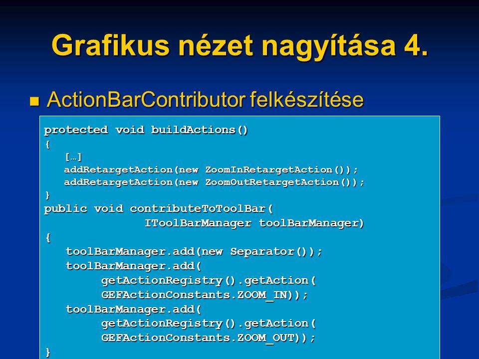 Grafikus nézet nagyítása 4. ActionBarContributor felkészítése ActionBarContributor felkészítése protected void buildActions() { […] […] addRetargetAct