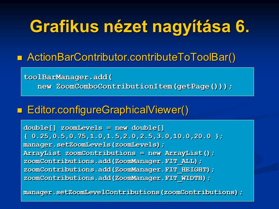 Grafikus nézet nagyítása 6. ActionBarContributor.contributeToToolBar() ActionBarContributor.contributeToToolBar() toolBarManager.add( new ZoomComboCon