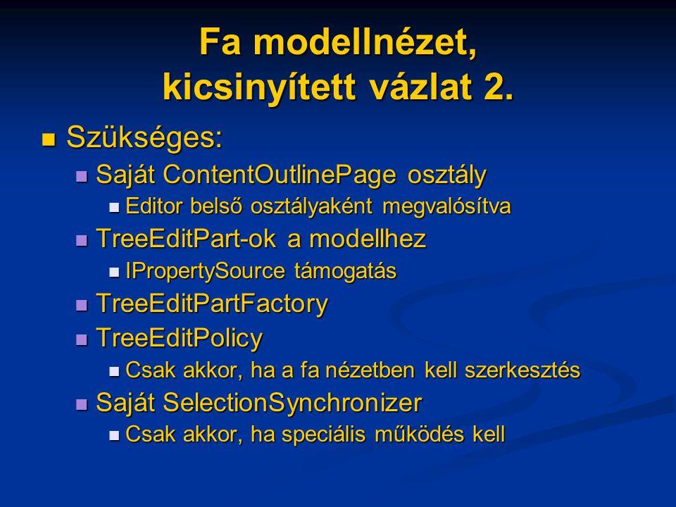 Fa modellnézet, kicsinyített vázlat 2. Szükséges: Szükséges: Saját ContentOutlinePage osztály Saját ContentOutlinePage osztály Editor belső osztályaké