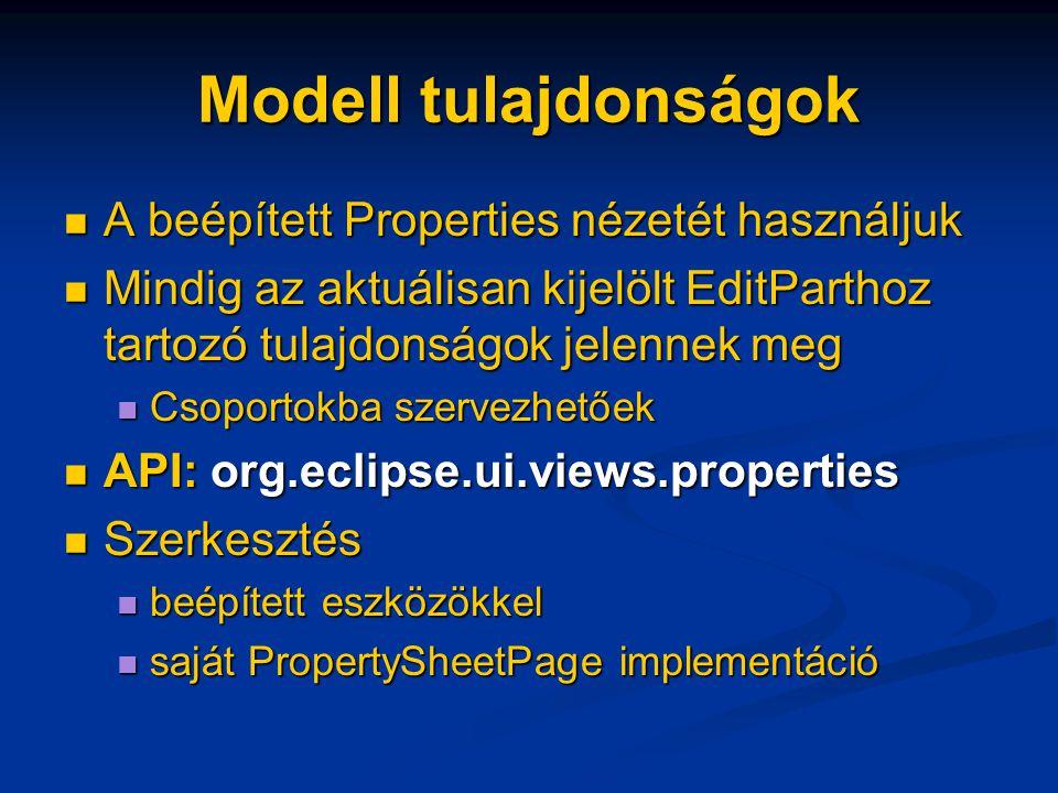 Modell tulajdonságok A beépített Properties nézetét használjuk A beépített Properties nézetét használjuk Mindig az aktuálisan kijelölt EditParthoz tartozó tulajdonságok jelennek meg Mindig az aktuálisan kijelölt EditParthoz tartozó tulajdonságok jelennek meg Csoportokba szervezhetőek Csoportokba szervezhetőek API: org.eclipse.ui.views.properties API: org.eclipse.ui.views.properties Szerkesztés Szerkesztés beépített eszközökkel beépített eszközökkel saját PropertySheetPage implementáció saját PropertySheetPage implementáció