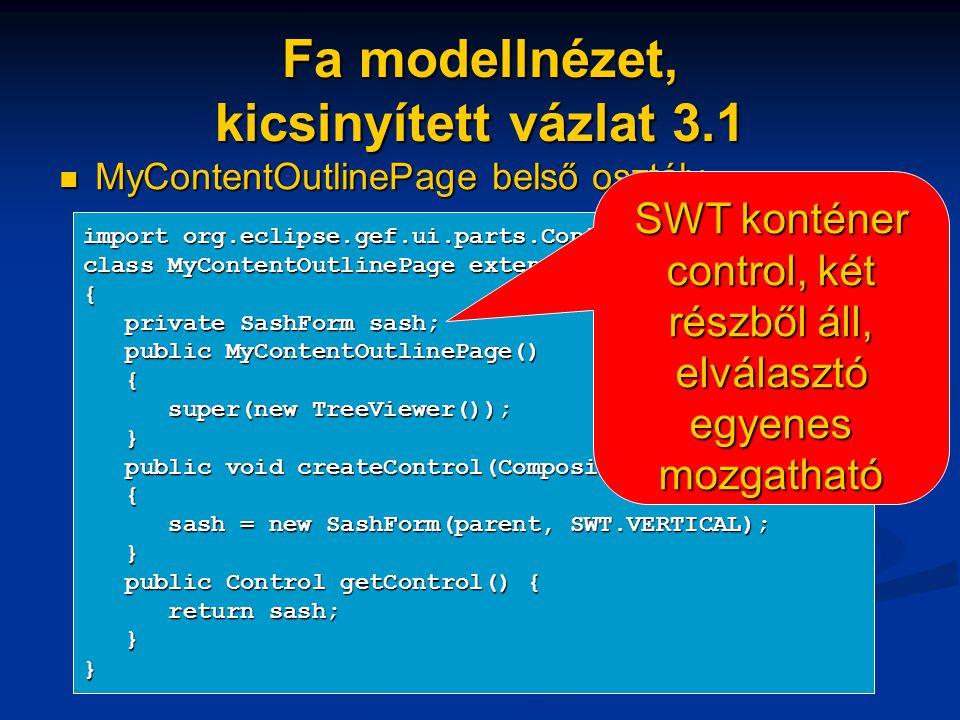 Fa modellnézet, kicsinyített vázlat 3.1 MyContentOutlinePage belső osztály MyContentOutlinePage belső osztály import org.eclipse.gef.ui.parts.ContentOutlinePage; class MyContentOutlinePage extends ContentOutlinePage { private SashForm sash; private SashForm sash; public MyContentOutlinePage() public MyContentOutlinePage() { super(new TreeViewer()); super(new TreeViewer()); } public void createControl(Composite parent) public void createControl(Composite parent) { sash = new SashForm(parent, SWT.VERTICAL); sash = new SashForm(parent, SWT.VERTICAL); } public Control getControl() { public Control getControl() { return sash; return sash; }} SWT konténer control, két részből áll, elválasztó egyenes mozgatható