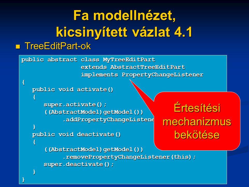 Fa modellnézet, kicsinyített vázlat 4.1 TreeEditPart-ok TreeEditPart-ok public abstract class MyTreeEditPart extends AbstractTreeEditPart extends AbstractTreeEditPart implements PropertyChangeListener implements PropertyChangeListener{ public void activate() public void activate() { super.activate(); super.activate(); ((AbstractModel)getModel()) ((AbstractModel)getModel()).addPropertyChangeListener(this);.addPropertyChangeListener(this); } public void deactivate() public void deactivate() { ((AbstractModel)getModel()) ((AbstractModel)getModel()).removePropertyChangeListener(this);.removePropertyChangeListener(this); super.deactivate(); super.deactivate(); }} Értesítési mechanizmus bekötése